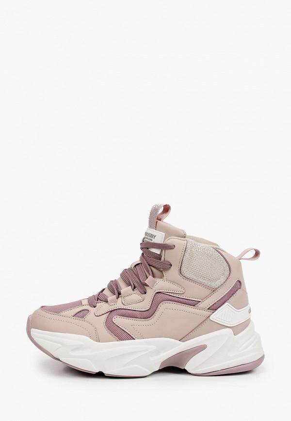 женские высокие кроссовки crosby, розовые