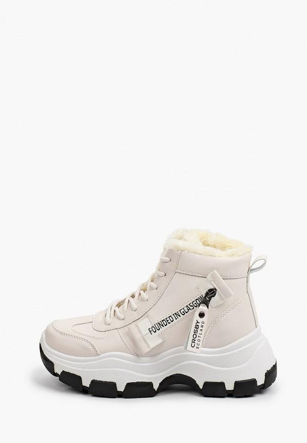 женские высокие ботинки crosby, бежевые