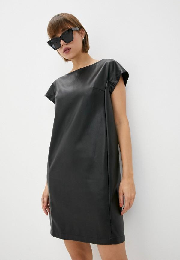 женское кожаные платье eliseeva olesya, черное