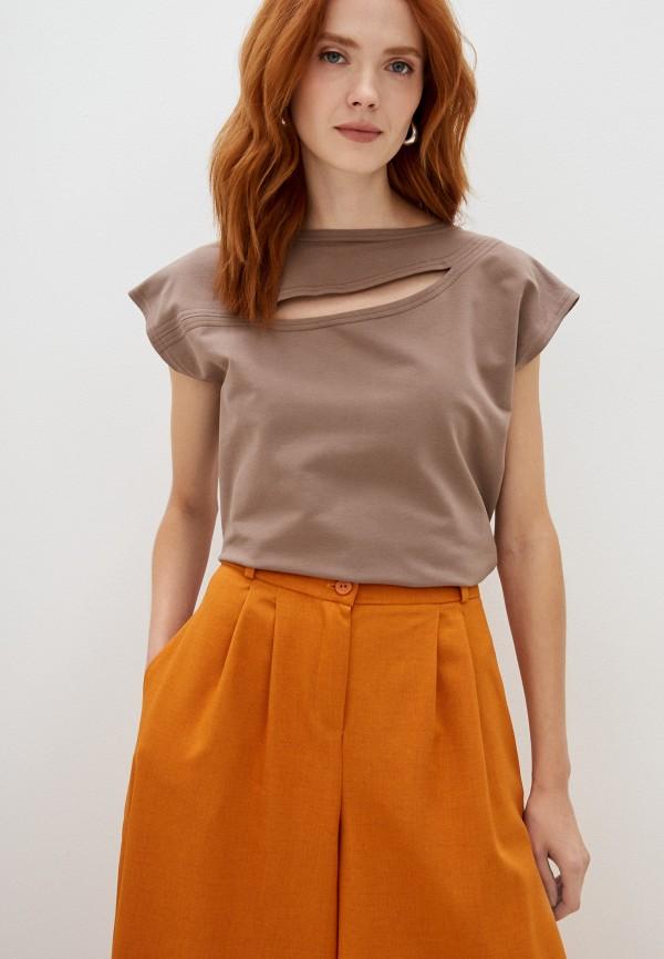 женская футболка magic people, коричневая