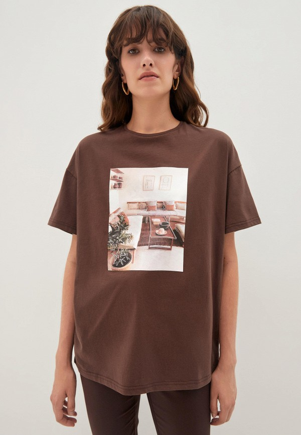 женская футболка zarina, коричневая