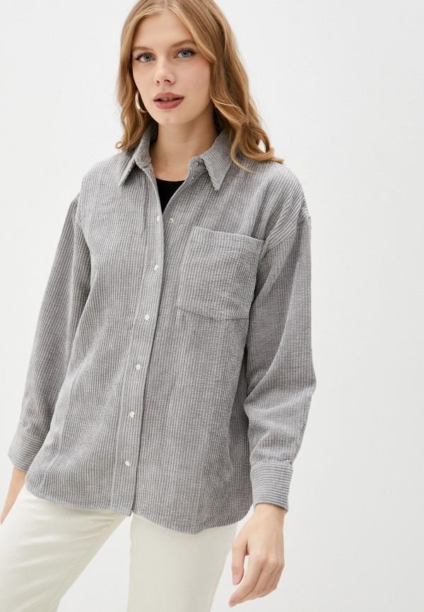 женская рубашка с длинным рукавом baon, серая