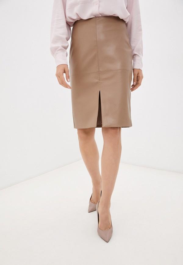 женская кожаные юбка baon, коричневая