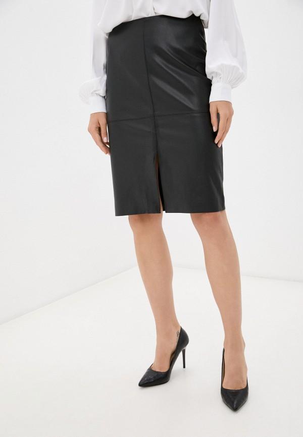 женская кожаные юбка baon, черная