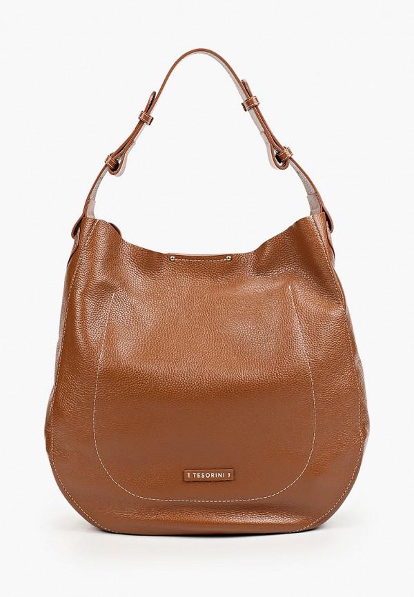 женская сумка с ручками tesorini, коричневая