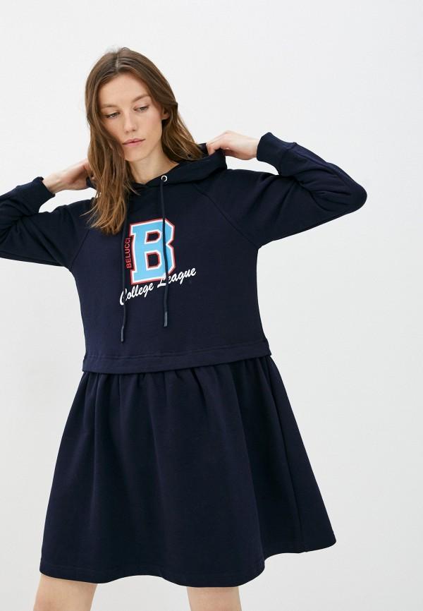 женское платье-толстовки belucci, синее