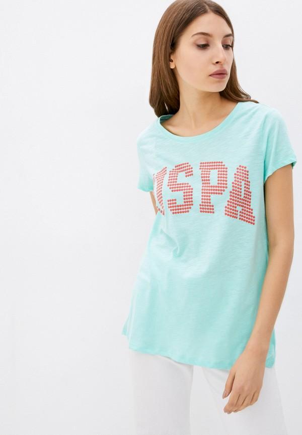 женская футболка u.s. polo assn, бирюзовая