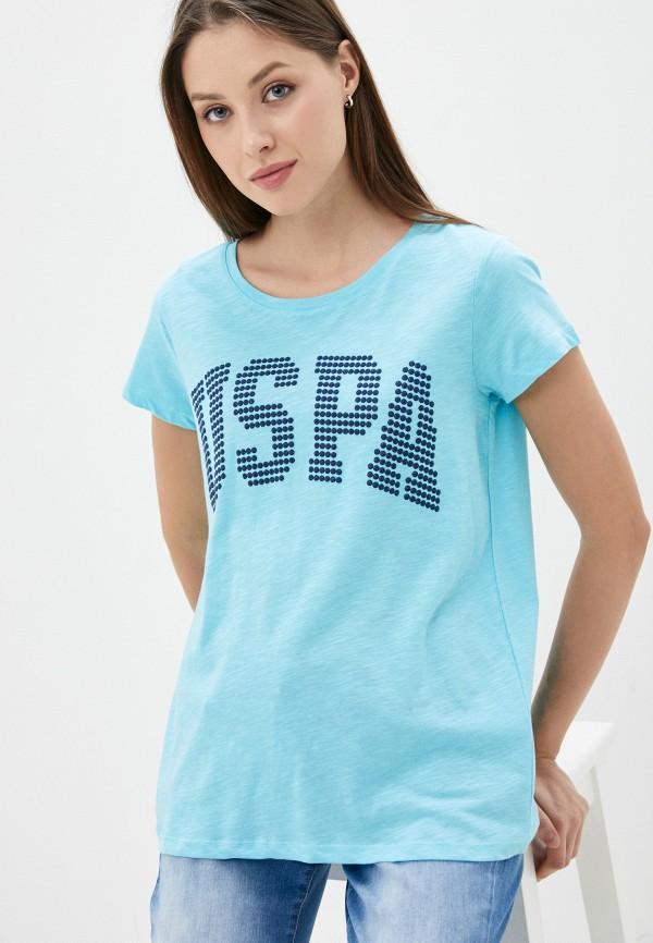 женская футболка u.s. polo assn, голубая