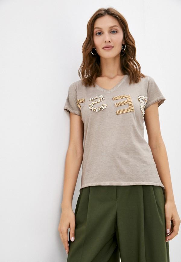женская футболка a la tete, коричневая