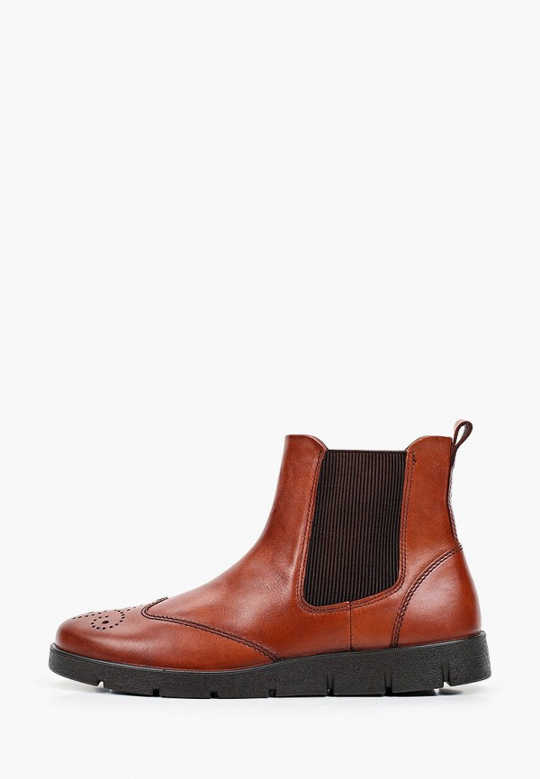 женские ботинки-челси ecco, коричневые