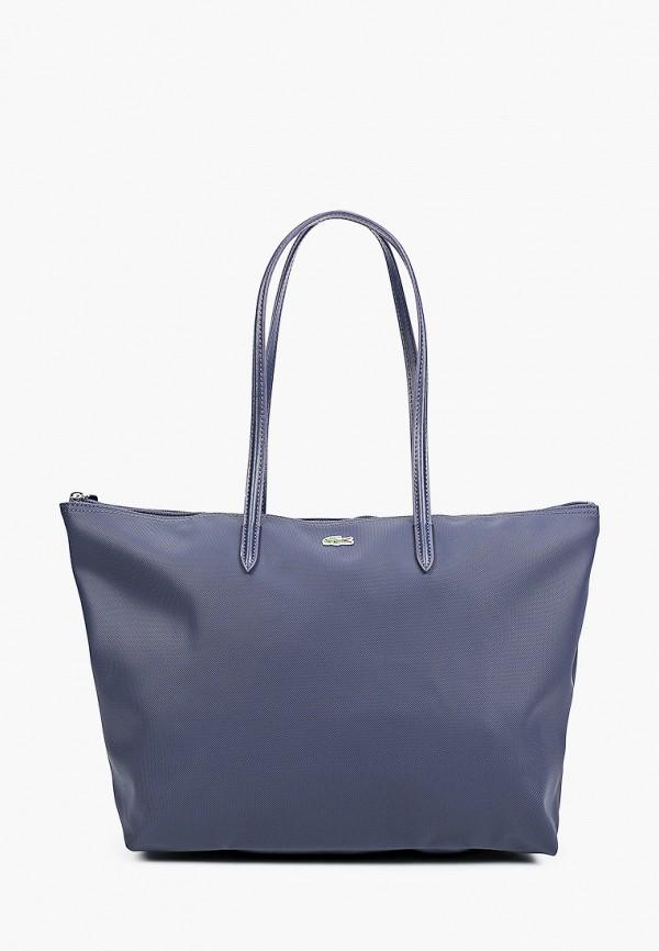 женская сумка с ручками lacoste, синяя