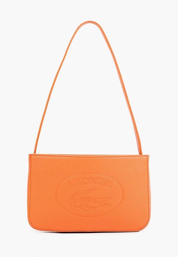 женская сумка с ручками lacoste, оранжевая