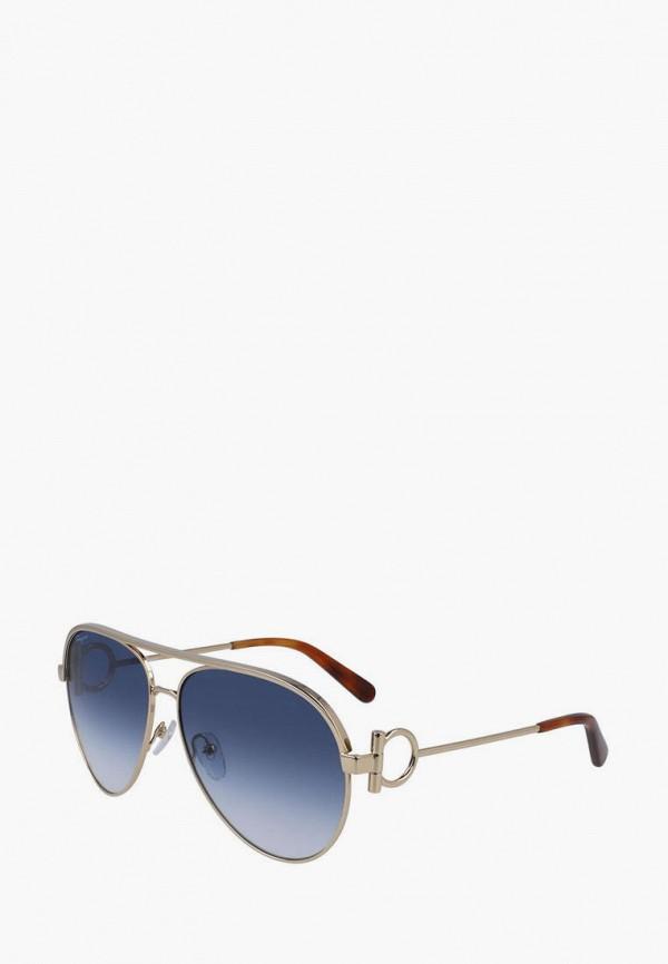 женские авиаторы солнцезащитные очки salvatore ferragamo, серебряные