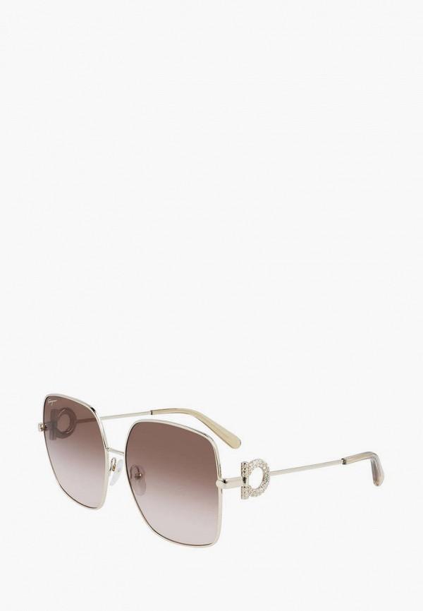 женские квадратные солнцезащитные очки salvatore ferragamo, серебряные