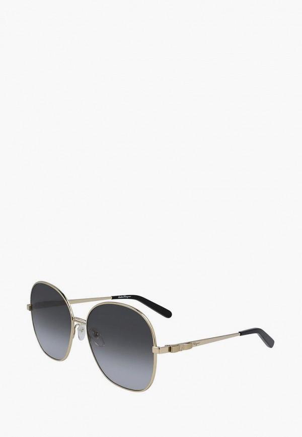 женские круглые солнцезащитные очки salvatore ferragamo, серебряные