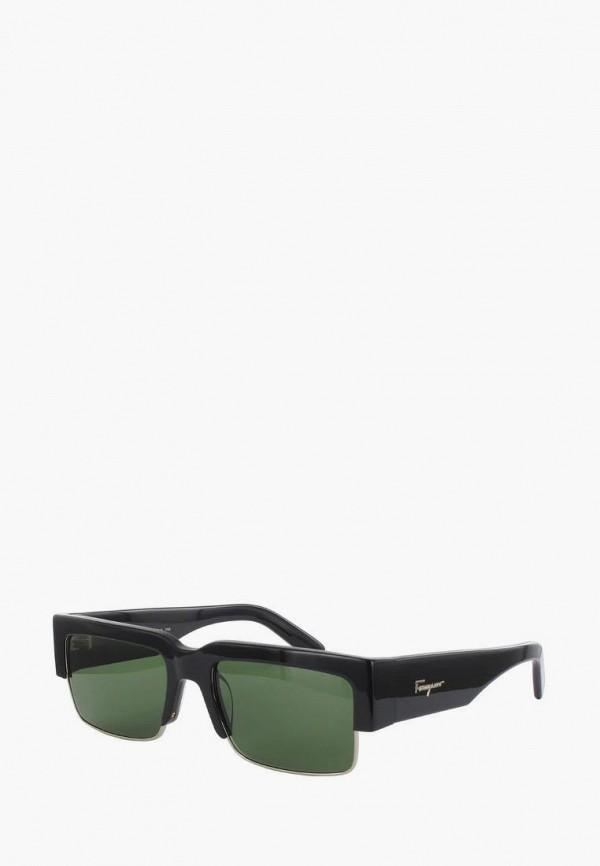 женские квадратные солнцезащитные очки salvatore ferragamo, черные