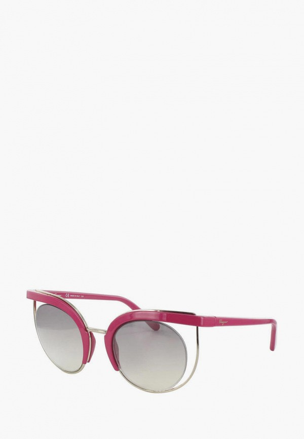 женские солнцезащитные очки кошачьи глаза salvatore ferragamo, розовые