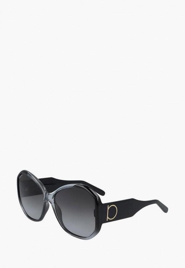 женские круглые солнцезащитные очки salvatore ferragamo, черные