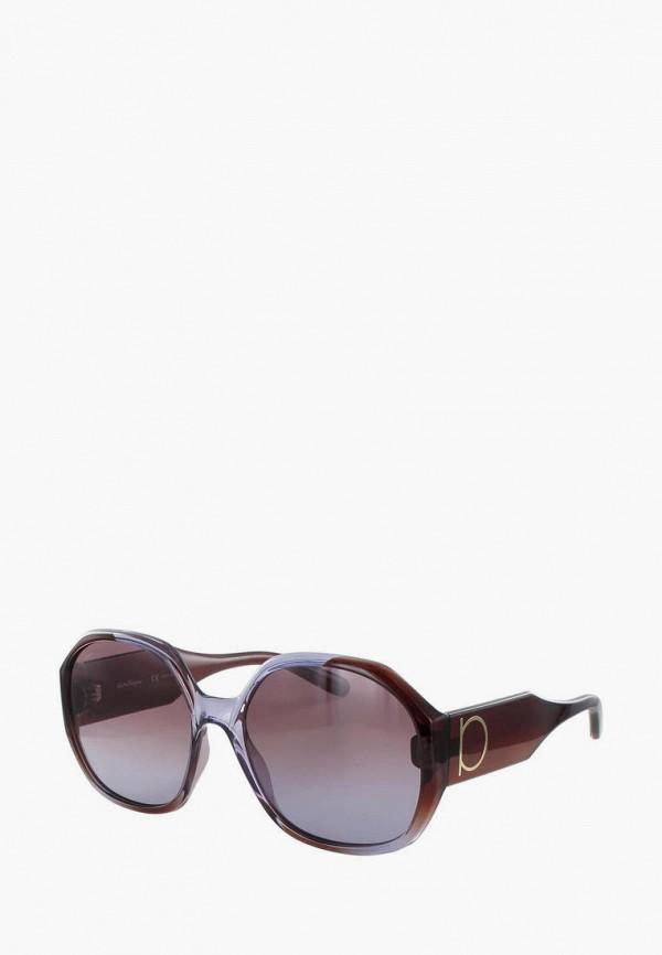 женские круглые солнцезащитные очки salvatore ferragamo, коричневые