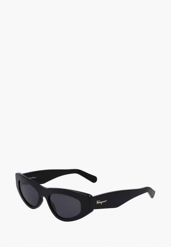 женские солнцезащитные очки salvatore ferragamo, черные