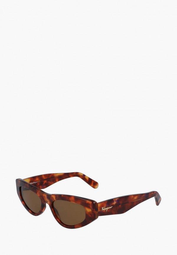 женские солнцезащитные очки salvatore ferragamo, коричневые