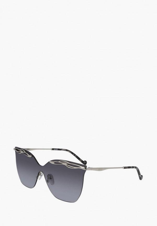 женские солнцезащитные очки кошачьи глаза liu jo, серебряные