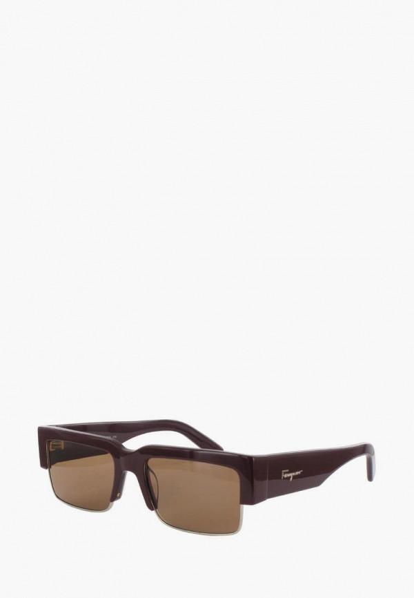 женские квадратные солнцезащитные очки salvatore ferragamo, коричневые