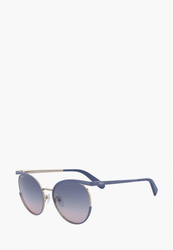 женские круглые солнцезащитные очки salvatore ferragamo, синие