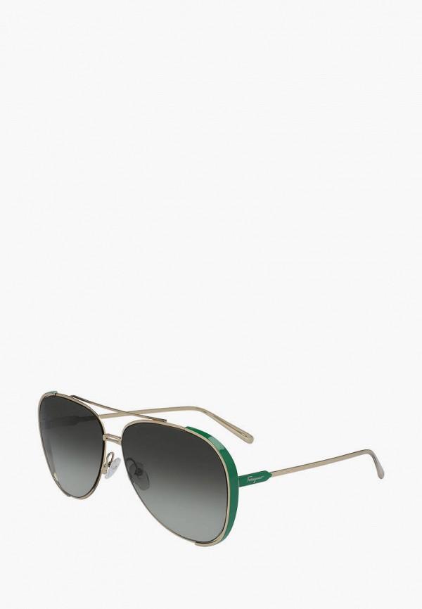 женские авиаторы солнцезащитные очки salvatore ferragamo, золотые