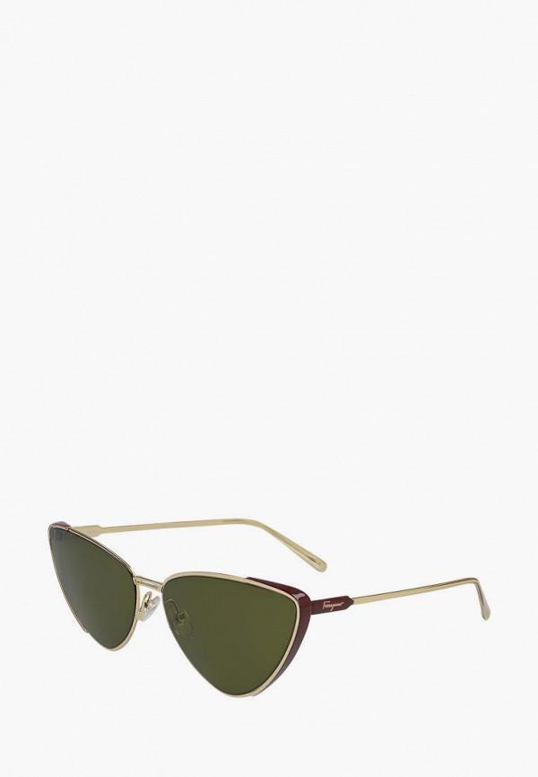женские солнцезащитные очки кошачьи глаза salvatore ferragamo, золотые