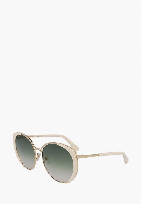 женские круглые солнцезащитные очки salvatore ferragamo, золотые