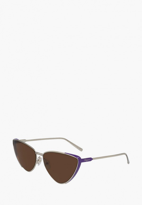 женские солнцезащитные очки кошачьи глаза salvatore ferragamo, серебряные