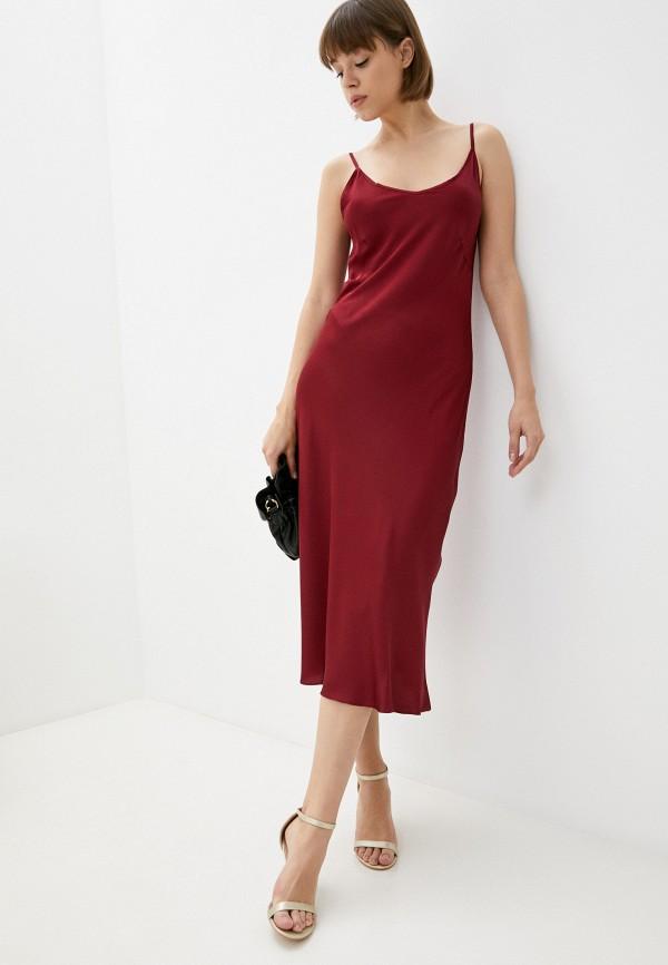женское платье-комбинация luvine, бордовое