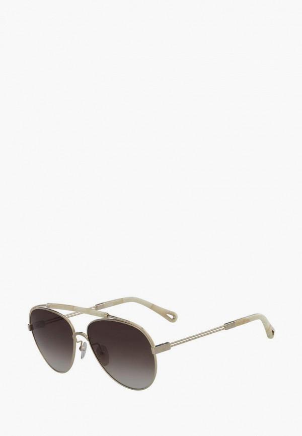 женские авиаторы солнцезащитные очки chloe, серебряные