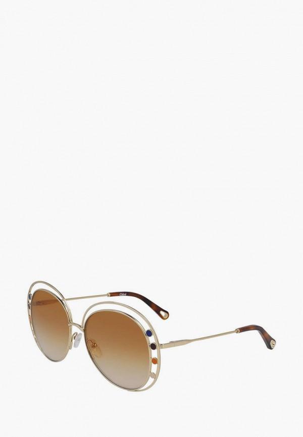 женские круглые солнцезащитные очки chloe, серебряные