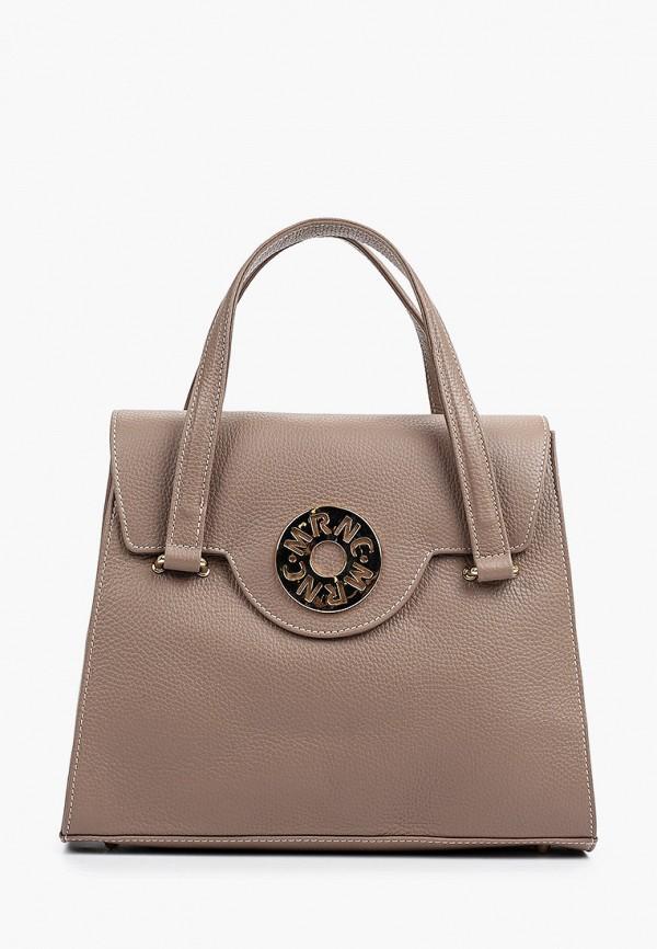 женская сумка с ручками marina creazioni, коричневая
