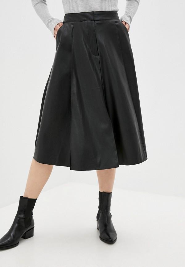 женская кожаные юбка zolla, черная