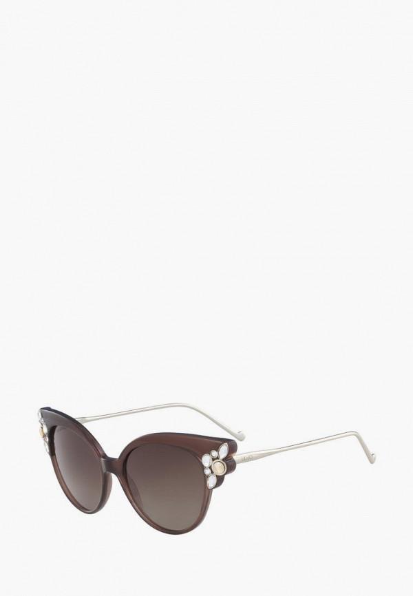 женские солнцезащитные очки кошачьи глаза liu jo, коричневые