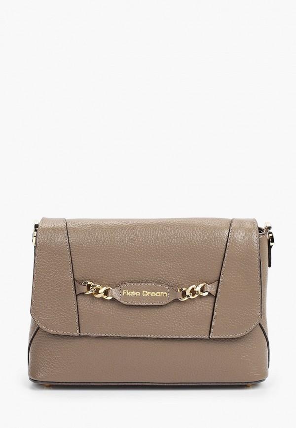 женская сумка через плечо fiato, коричневая