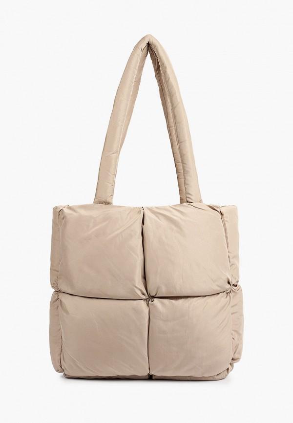 женская сумка с ручками sela, бежевая