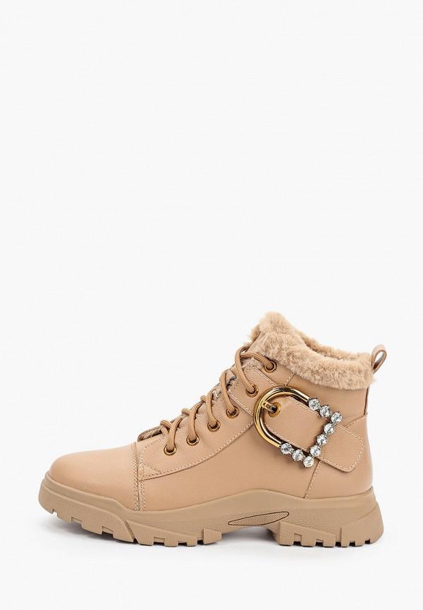 женские высокие ботинки donna d'oro, бежевые