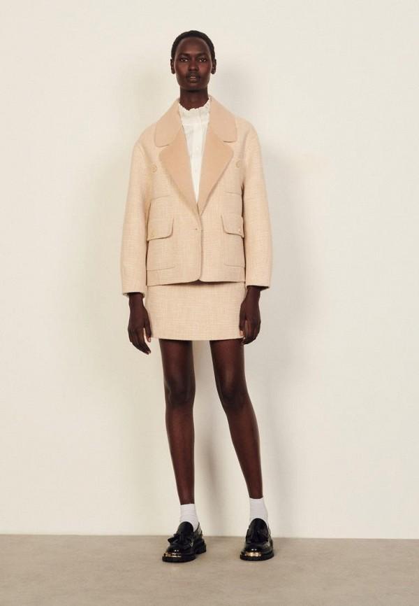 женское пальто sandro, бежевое
