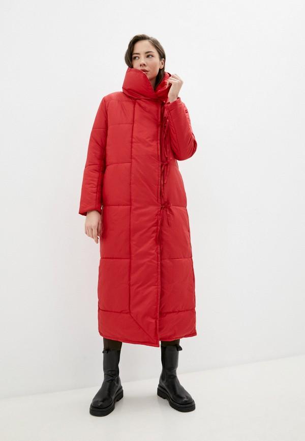 женский пуховик палето, красный