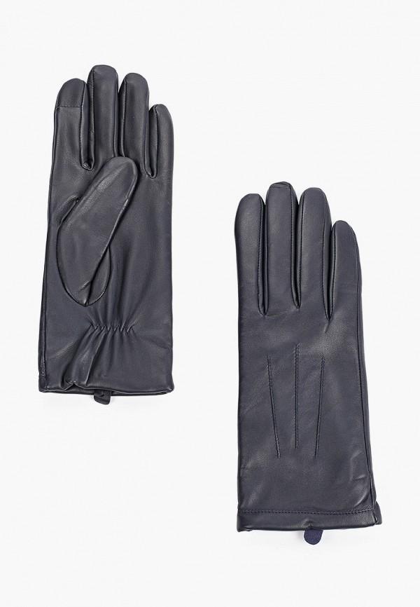 женские кожаные перчатки ecco, синие