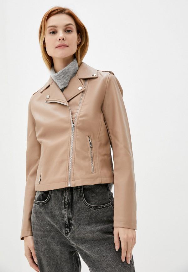 женская куртка косухи zolla, бежевая