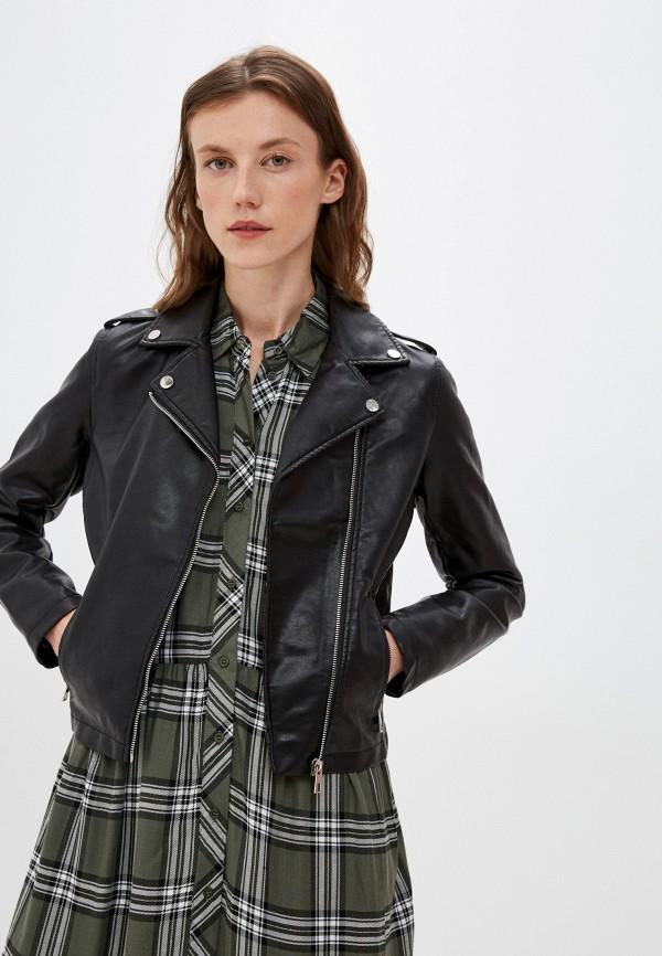 женская кожаные куртка zolla, черная