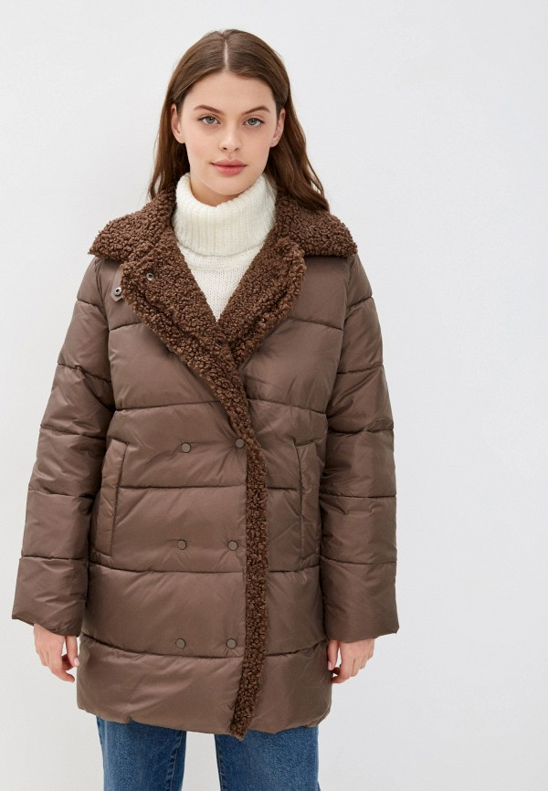 женская утепленные куртка zolla, коричневая