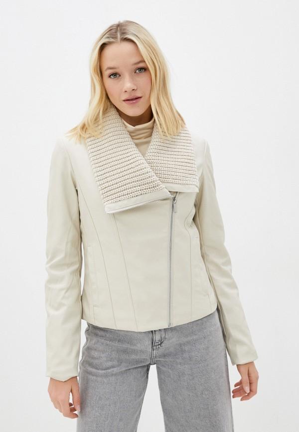 женская кожаные куртка zolla, бежевая