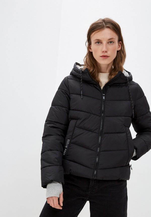 женская утепленные куртка zolla, черная