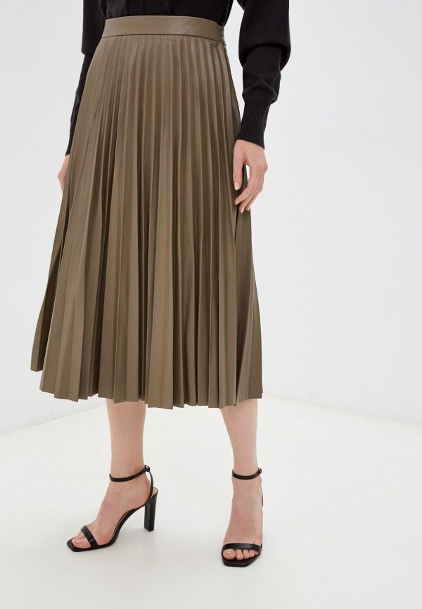 женская кожаные юбка zolla, коричневая